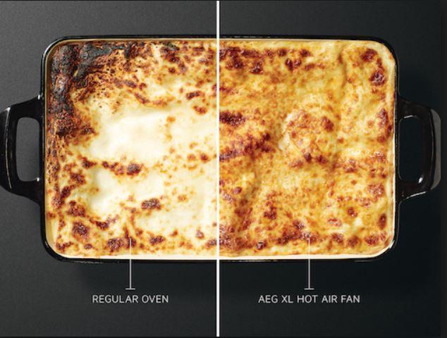 ROVNOMĚRNÉ PROPEČENÍ V KAŽDÉM SOUSTU Efektivní využívání energie znamená i efektivní vaření. Nový systém proudění vzduchu zajišťuje rovnoměrnou cirkulaci vzduchu. Trouba se rychleji vyhřeje a teplota pečení může být až o 20 % nižší. Tím šetříte čas i energii.