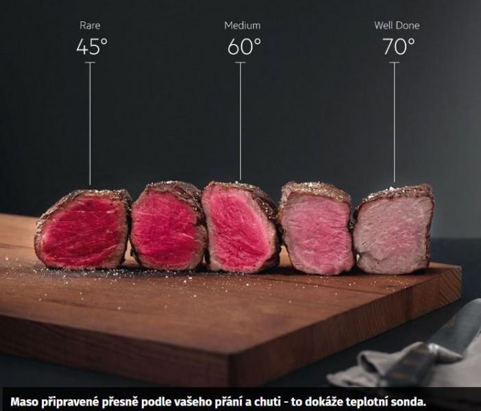PŘIPRAVUJTE POKRMY TAK, JAK VÁM NEJVÍC CHUTNAJÍ Teplotní sonda, která průběžně měří teplotu ve středu vašeho pokrmu, vás upozorní, až bude vaše jídlo hotové. Jaké propečení masa preferujete? Ať už rare, medium nebo well done, sonda ho za vás vždy ohlídá.